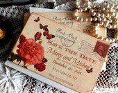 Vintage Postcard Butterflies and Roses Wedding Save the Date Cards Handmade by avintageobsession