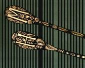 2 custom personalized monogrammed spoons, anniversary gift,  name keepsake- ooak oak aspen flower bird design, -hostess-wedding gift