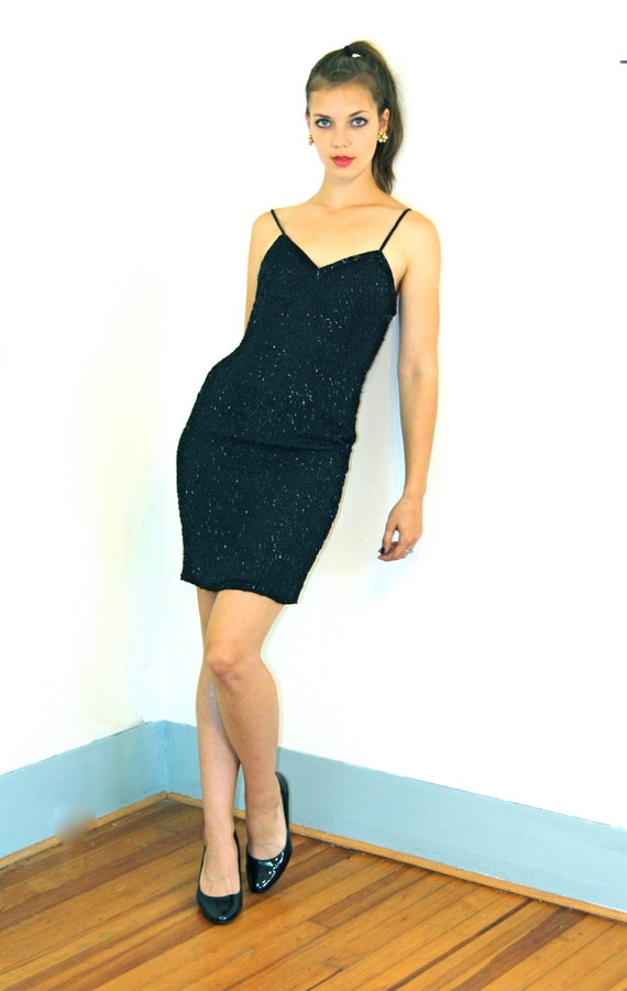 Black pencil dress, FULLY BEADED dress, 80s party dress, Spaghetti Straps, Tight Fitted Dress,Short Cocktail Dress, Sexy evening dress, Sz 4
