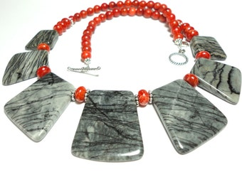 Gray Jasper Necklace Sculptured Gemstone Collar 50 Shades of Gray Jasper Cleopatra Bib Collar Statement Necklace with Red Coral and Sterling