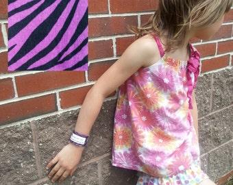 Kid's Safety ID Medical Alert Fabric Wristband - Purple Zebra Stripes