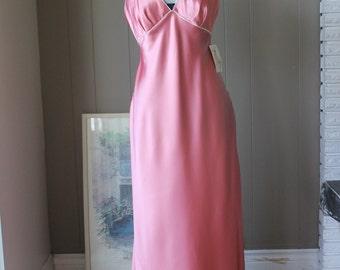 30s Style Jean Harlow Bias Cut Long Gown Coral Lingerie Silken Bias Cut Long Dress by Linda