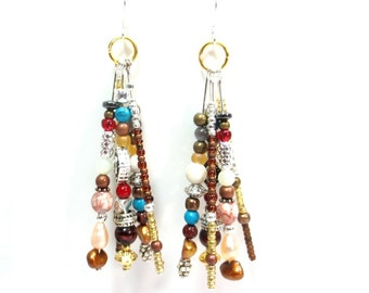 Long Boho Earrings, Hippie Dangle Earrings, Sterling Wires, Red and Turquoise Boho Jewelry, Frosted Gold Beads, Colorful Earrings