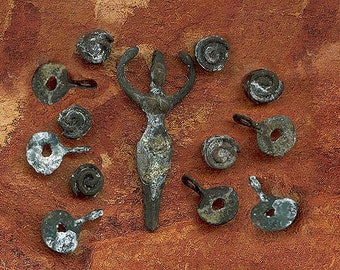 13 Piece Bundle of Rustic Etched Bronze Goddess Pendant, 6 Charms and 6 Spiral Beads- Primitive Tribal Boho just like a Dig Find