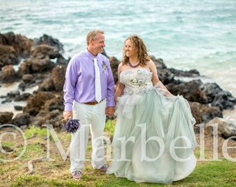 Unique Light Gray Wedding Dress with Tulle Custom Handmade to your Measurements by Award Winning New Jersey Bridal Dressmaker