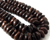 Ebony Wood Rondelle, Wheel/Tire, Faceted, Wave, 22mm, Natural Wood Beads, Large, Big, Half Strand, 20pcs - ID 1873