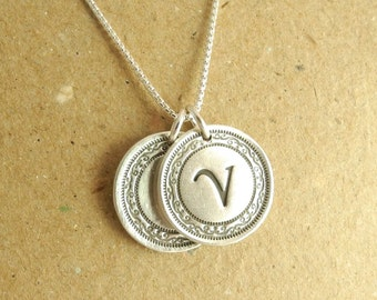 Double Victorian Monogram Necklace, Personalized Initial Necklace, Fine Silver, Sterling Silver Chain, Made To Order