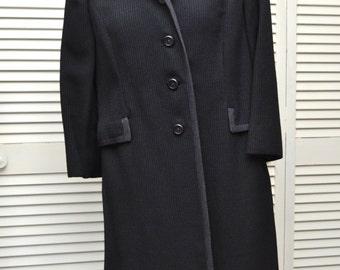 Vintage Womens Dressy Car Coat/Winter Jacket/60s Mid Century/Licorice Black/Clyde Fashions Sakowitz Houston 3/4 Length Button Front Medium