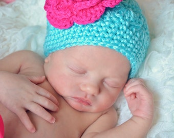 Crochet Girls Hat - Baby Hat - Toddler Hat - Newborn Hat - Crochet Hat - Aqua Blue with Hot Pink Flower - in sizes Newborn to 3 Years