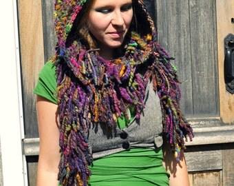 Crochet hooded scarf hat snood fringe boa 'Goddess Hood'- hand dyed handspun wool artyarn - Handmade fiber art to wear - Custom made bespoke