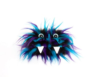 Frank the Eco Friendly Monster - Black Furry Altered Altoids Tin Monster - Great for gift cards, party favors, teen or child wallet  Kawaii