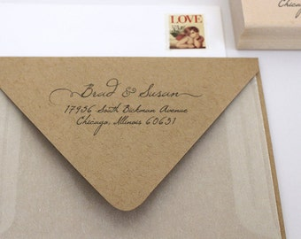 Custom Wedding Address Stamp - Personalized Stamp - Handwritten Cursive Text Style - Self Inker - Wood Mounted Stamp - Wedding -  DIY Print