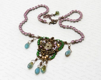 Lovely and Feminine Victorian Necklace with a Vintage Watch Face and Swarovski Crystal