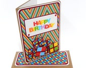 CLEARANCE-Rainbow Dots Birthday Card with Matching Embellished Envelope