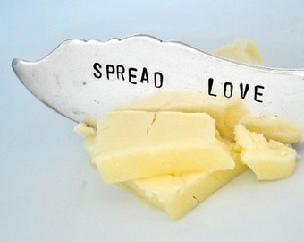 Hand Stamped Butter Knife with a Twisted Handle - SPREAD LOVE -  Leyland 1910