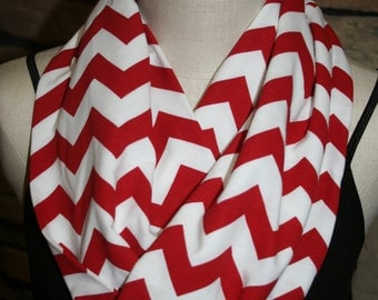 """Chevron Infinity Scarf - Red on White Jersey Knit - 9.5"""" x 64""""-Red Chevron loop scarf-Qty Discount Available-Accessories"""