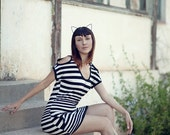 Striped Dress, Black and White Dress, Cut out Dress, Open Shoulders Dress, CLEARANCE SALE