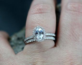 Aquamarine & Diamonds Halo Engagement Ring Set Engagement Ring Ovale Petite 1ct 7x5mm Custom Siz White-Yellow-Rose Gold-10k-14k-18k-Platinum