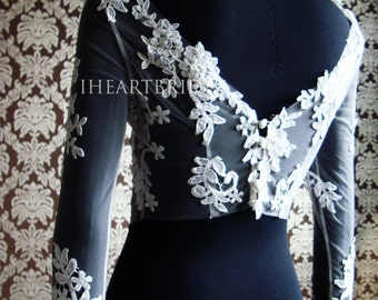 Designer Bridal Invisible Bolero with lace applique Bridal Jacket by IHeartBride Style Abella Fanore - Custom Bridal Couture Bolero Designer