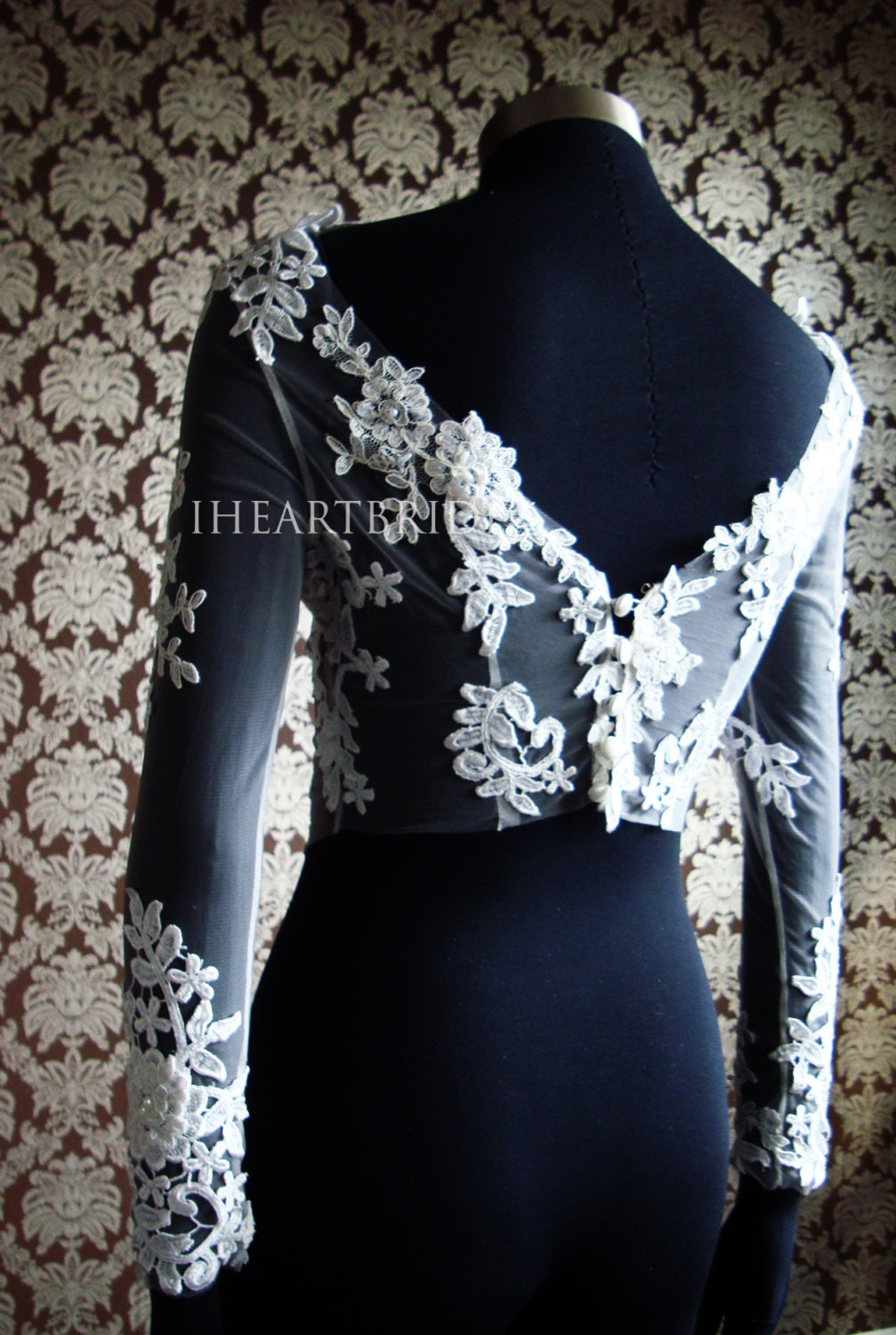 Designer bridal invisible bolero with lace applique bridal for Designer bolero