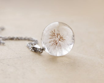 Dandelion Puff Pendant Great Gift for a best friend Dandelion wish jewelry Real Dandelions best friend gift idea Great dandelion pendant