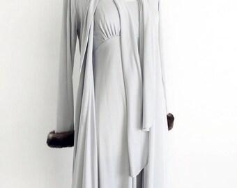 Mink Gown Set. Fur Trim Cuff. //  Grey - 2 Piece, Formal Maxi