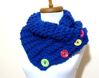 Cowl Neck Warmer / royal Blue / Hand Knit,Colorfull Button neck warmer..Cozy scarves,cozy knit,capelet,for her,gifts,winter accessories,