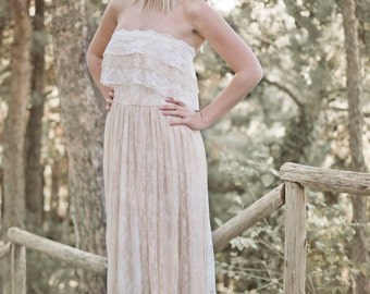 Boho Wedding Dress, Cream Wedding Dress, Lace Wedding Dress, Vintage Wedding, Bohemian Gown, Gipsy Wedding Dress, Handmade, SuzannaMDesigns