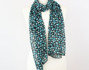 Blue Hearts Black Silk Chiffon Long Spring Scarf, Black Scarf, Blue Scarf