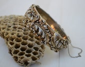 Flourishing Filigree design Gold and Silver Bangle Bracelet with hinge and chain clasp