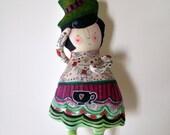 Alice in Wonderland- OOAK-Handmade Art Doll- The Mad Hatter soft sculpture