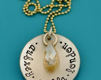 Personalized Gold Necklace, Gold Mom Necklace, Gold Mother's Day Necklace for Mom Gold Mommy Necklace Swarovski Crystal Custom Gold Necklace