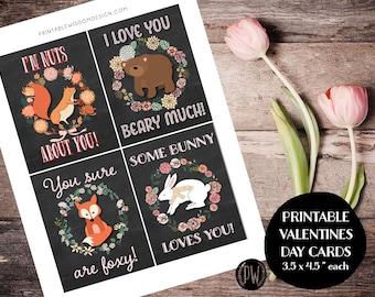 Valentines Day Cards printable Valentine card DIY classroom Valentine printable print for kids children classroom cards Valentine's Animals