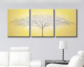 """Canvas Art Wall Art Painting of Tree of Life Wall Decor Home Decor Cadmium Yellow Wall Hangings 48""""x20"""" Original Painting HAND PAINTED"""