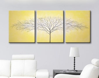 Canvas Art Painting Wall Art Wall Decor 3 Piece Tree of Life Paintings Original Painting Wall Hanging Home Decor 48x20 Cadmium Yellow