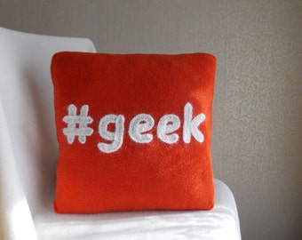 Geekery, geek, geeky pillow, geek pillow, geeky, red decorative pillow, Hashtag pillow