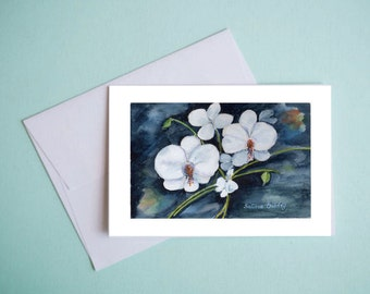 White orchids notecards Print from original watercolor painting Set of 5 notecards White flowers