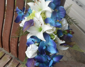 Destination or Beach Wedding / Real Touch Cascading Bridal Bouquet / Purple Teal and Royal Blue Bouquet / Tropical Flowers / Silk Flowers