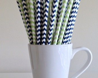 Navy and Green Paper Straws Navy Blue and Light Green Chevron Party Supplies Party Decor Bar Cart Cake Pop Sticks Graduation