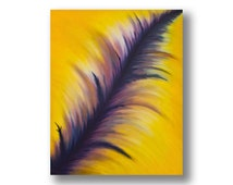Large Yellow and purple Abstract Oil Painting on canvas, Original Modern Art, Vibrant painting with movement and depth, Colorist Art