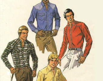 """VINTAGE  Men's Western Shirt Sewing Pattern  -  McCalls 7547, Chest 38"""", Neck 15"""" -  Palmer and Pletsch Tutorial - Very Gently Used"""