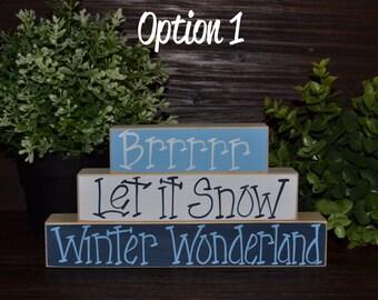 Winter Decor Let it Snow Holiday Decor Block Set Snowman Shelf Sitter Christmas Decor Holiday Decoration Snowball Winter Decoration Block