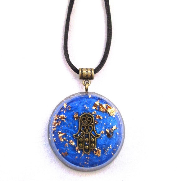 Electromagnetic Radiation Protection Necklace: Orgonite Pendant LARGE EMF Protection And Crystal Healing