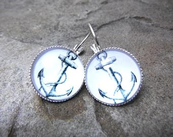 White Anchor Earrings, Nautical Earrings, Summer Earrings, Beach Earrings, Anchor Jewelry, Nautical Jewelry, Silver Leverback Earrings