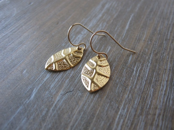 Gold Leaf Earrings, Leaf Earrings, Simple Leaf Earrings
