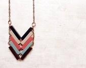 Wood Chevron Necklace // FISHBONE // Minimal Necklace // Mint Black Hand-Painted Pendant // Modern Jewelry // Modern pendant // Wood Jewelry