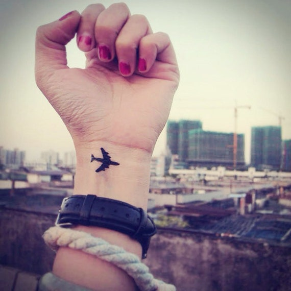 2pcs Little Airplane Inknart Temporary Tattoo Wrist Quote Tattoo