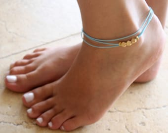 Turquoise Anklet - Ankle Bracelet - Layered Anklet - Foot Jewelry - Foot Bracelet - Beaded Anklet - Summer Jewelry - Beach Jewelry