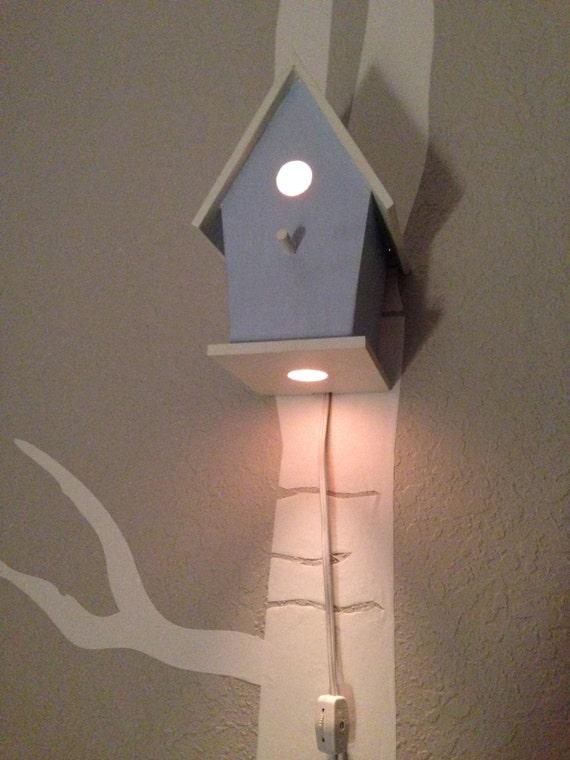 Bird house night light light blue baby boy nursery woodland - Birdhouse nightlight ...