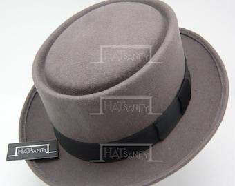 Vintage x Trendy Wool Felt Pork Pie Hat - Grey